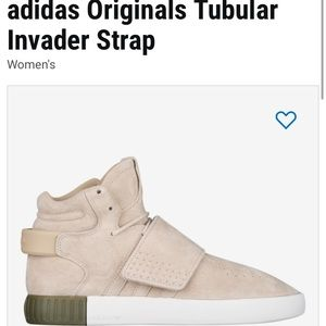 Adidas tubular hightop sneakers nude